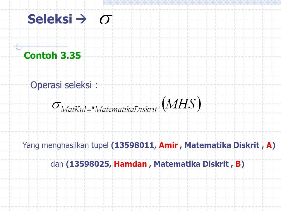 Seleksi  Contoh 3.35 Yang menghasilkan tupel (13598011, Amir, Matematika Diskrit, A) dan (13598025, Hamdan, Matematika Diskrit, B) Operasi seleksi :