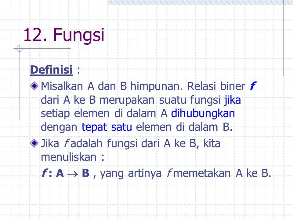12. Fungsi Definisi : Misalkan A dan B himpunan. Relasi biner f dari A ke B merupakan suatu fungsi jika setiap elemen di dalam A dihubungkan dengan te