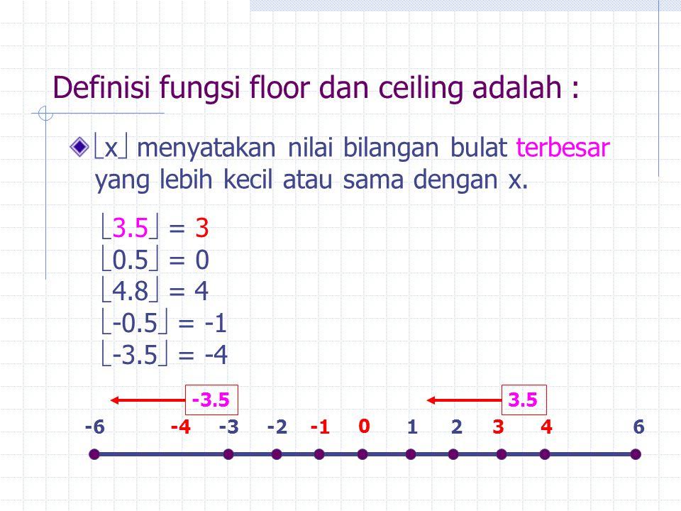 Definisi fungsi floor dan ceiling adalah :  x  menyatakan nilai bilangan bulat terbesar yang lebih kecil atau sama dengan x.  3.5  = 3  0.5  = 0