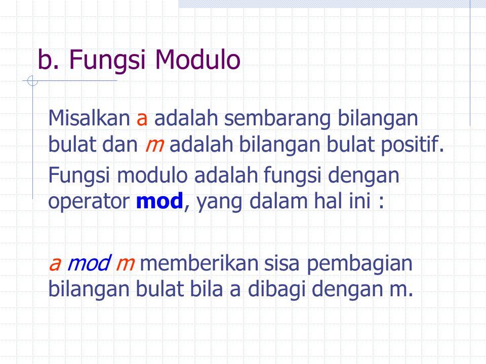 b. Fungsi Modulo Misalkan a adalah sembarang bilangan bulat dan m adalah bilangan bulat positif. Fungsi modulo adalah fungsi dengan operator mod, yang
