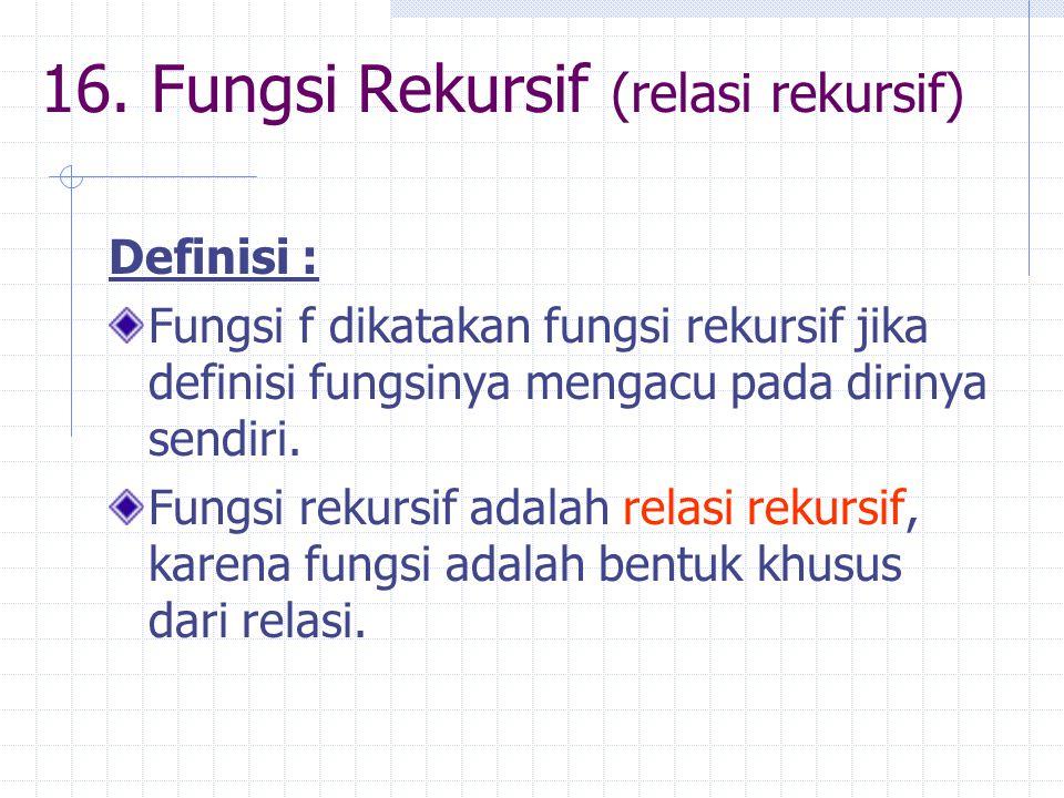16. Fungsi Rekursif (relasi rekursif) Definisi : Fungsi f dikatakan fungsi rekursif jika definisi fungsinya mengacu pada dirinya sendiri. Fungsi rekur