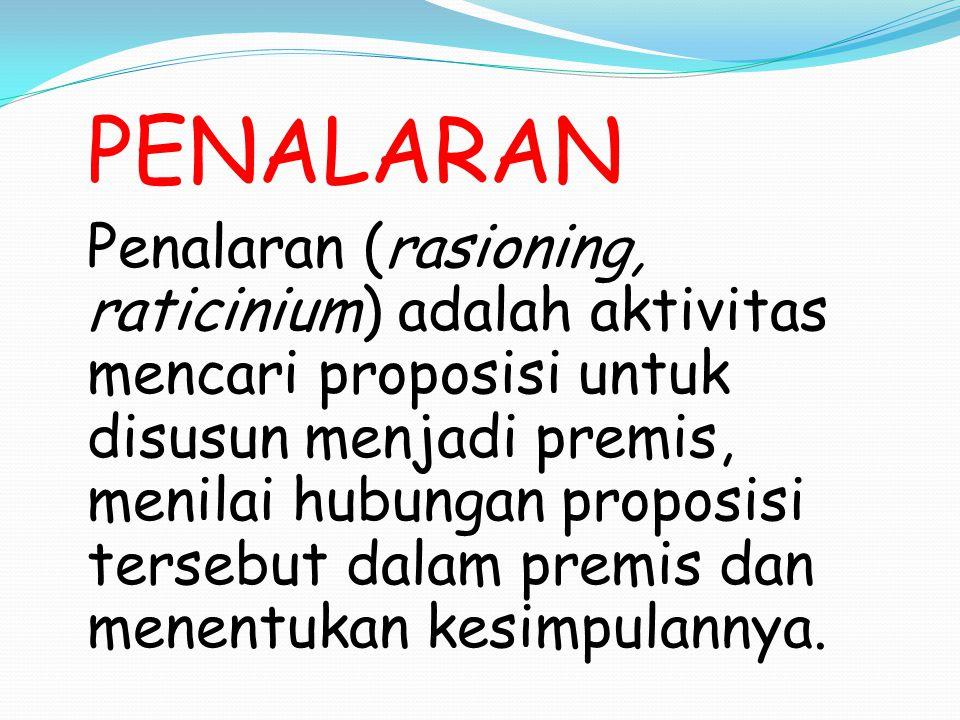PENALARAN Penalaran (rasioning, raticinium) adalah aktivitas mencari proposisi untuk disusun menjadi premis, menilai hubungan proposisi tersebut dalam
