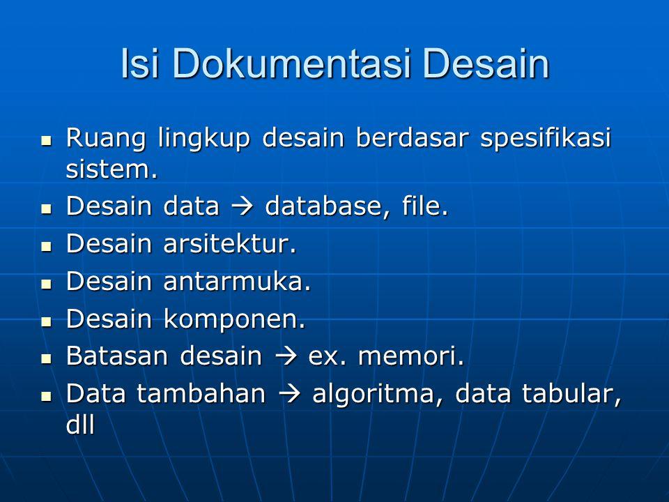 Isi Dokumentasi Desain Ruang lingkup desain berdasar spesifikasi sistem. Ruang lingkup desain berdasar spesifikasi sistem. Desain data  database, fil