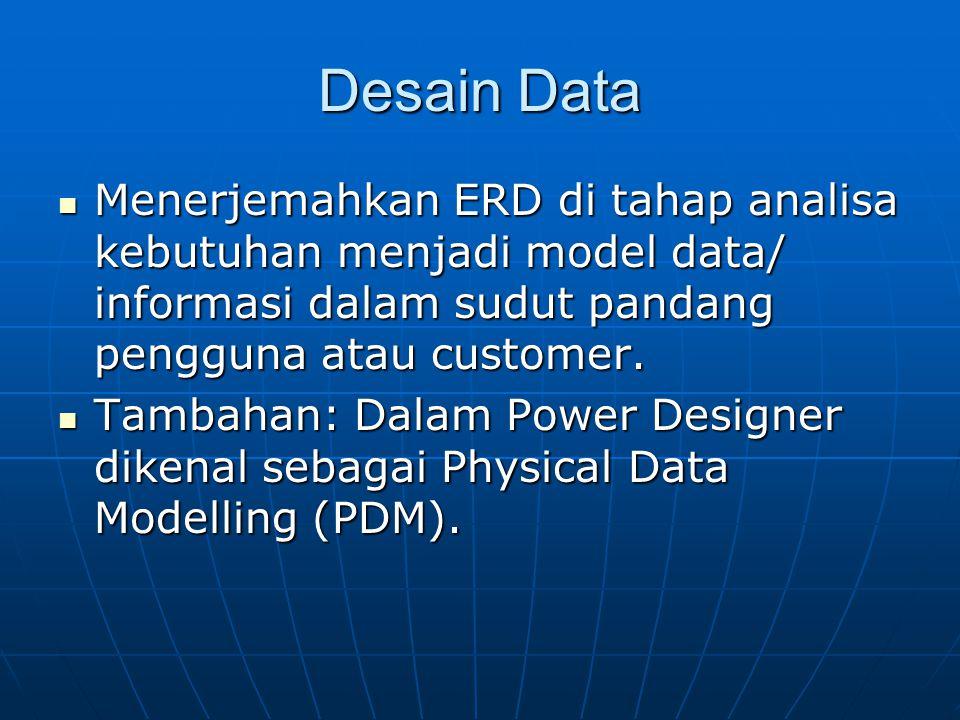 Desain Data Menerjemahkan ERD di tahap analisa kebutuhan menjadi model data/ informasi dalam sudut pandang pengguna atau customer. Menerjemahkan ERD d
