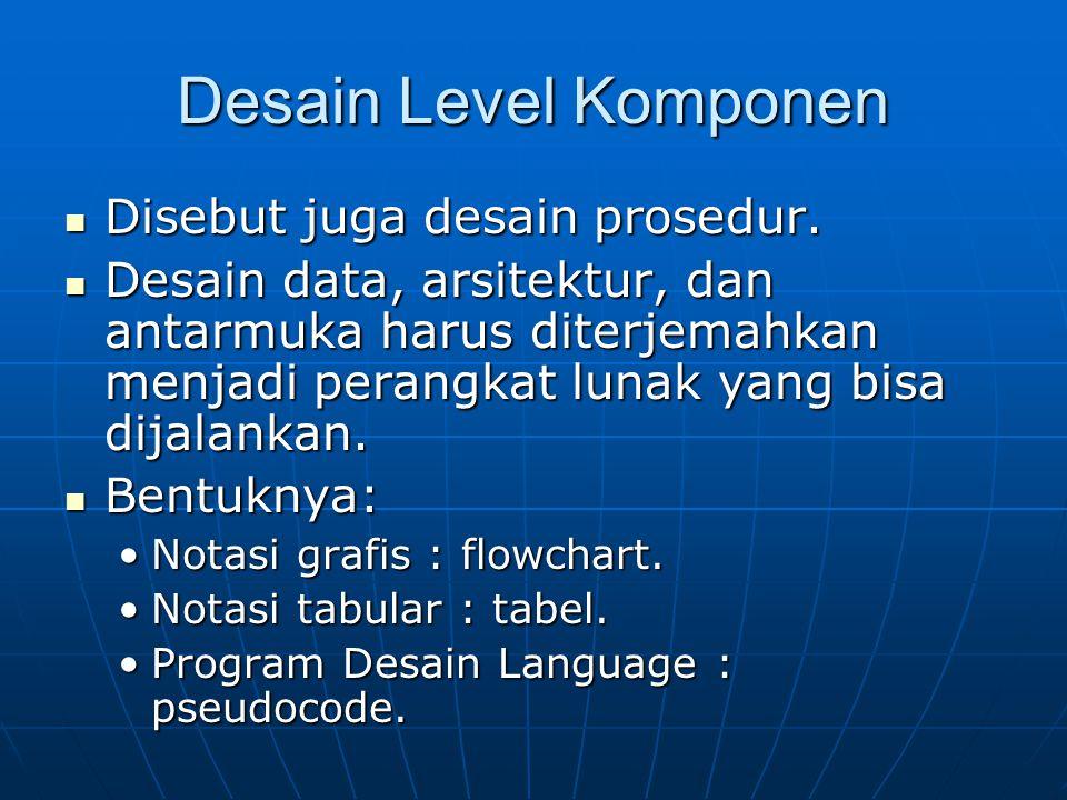Desain Level Komponen Disebut juga desain prosedur. Disebut juga desain prosedur. Desain data, arsitektur, dan antarmuka harus diterjemahkan menjadi p