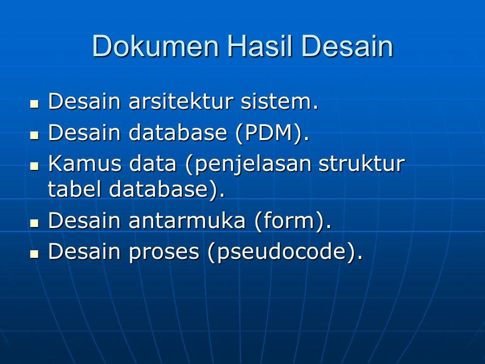 Dokumen Hasil Desain Desain arsitektur sistem. Desain arsitektur sistem. Desain database (PDM). Desain database (PDM). Kamus data (penjelasan struktur