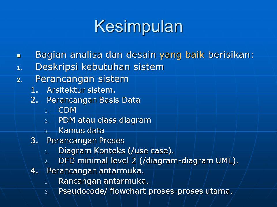 Kesimpulan Bagian analisa dan desain yang baik berisikan: Bagian analisa dan desain yang baik berisikan: 1. Deskripsi kebutuhan sistem 2. Perancangan