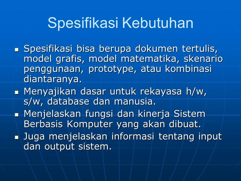 Spesifikasi Kebutuhan Spesifikasi bisa berupa dokumen tertulis, model grafis, model matematika, skenario penggunaan, prototype, atau kombinasi diantar