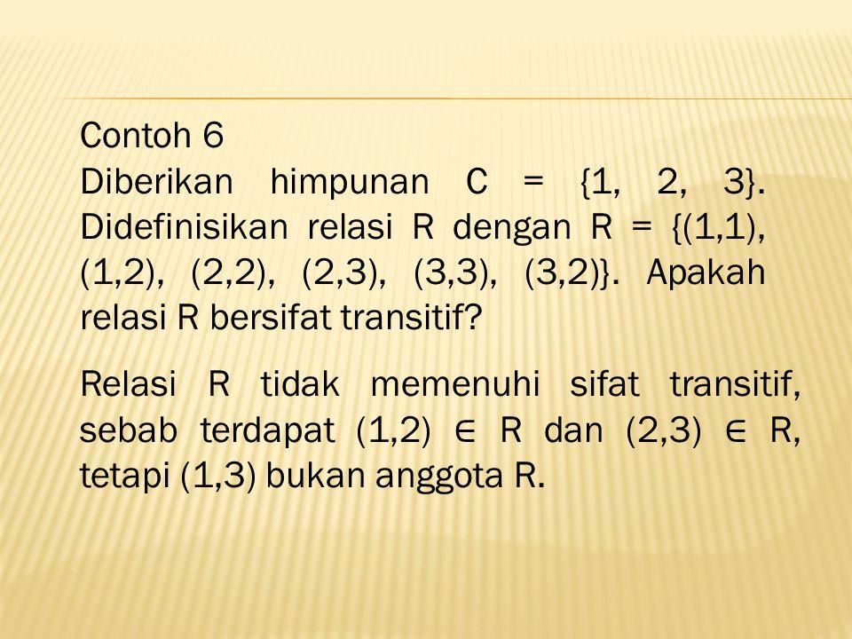 Contoh 6 Diberikan himpunan C = {1, 2, 3}.