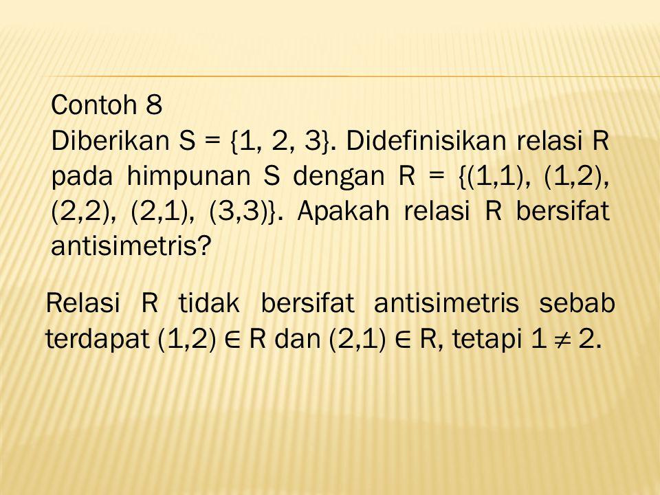 Contoh 8 Diberikan S = {1, 2, 3}.