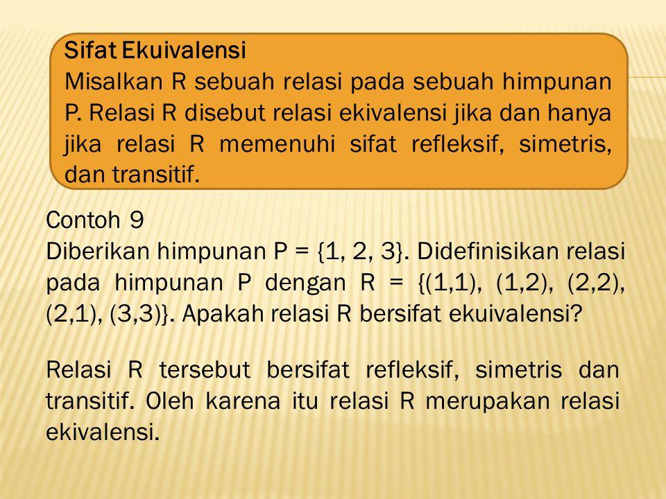 Sifat Ekuivalensi Misalkan R sebuah relasi pada sebuah himpunan P.