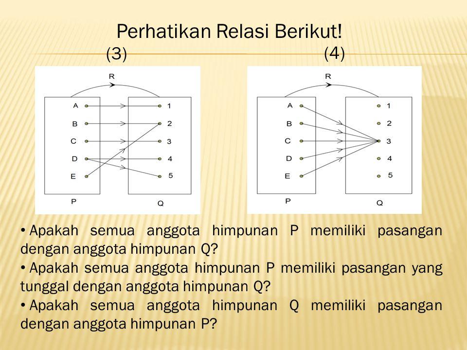 (3) (4) Apakah semua anggota himpunan P memiliki pasangan dengan anggota himpunan Q.