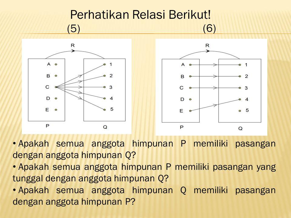 (5) (6) Apakah semua anggota himpunan P memiliki pasangan dengan anggota himpunan Q.