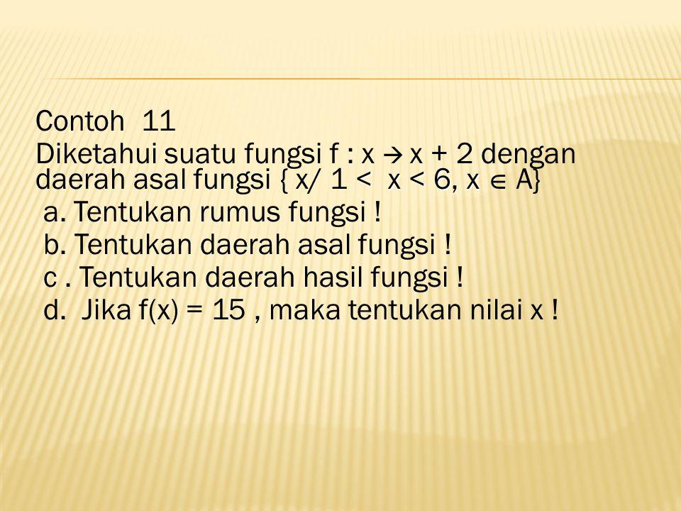 Contoh 11 < x <6, x Diketahui suatu fungsi f : x  x + 2 dengan daerah asal fungsi { x/ 1 < x < 6, x  A} a.