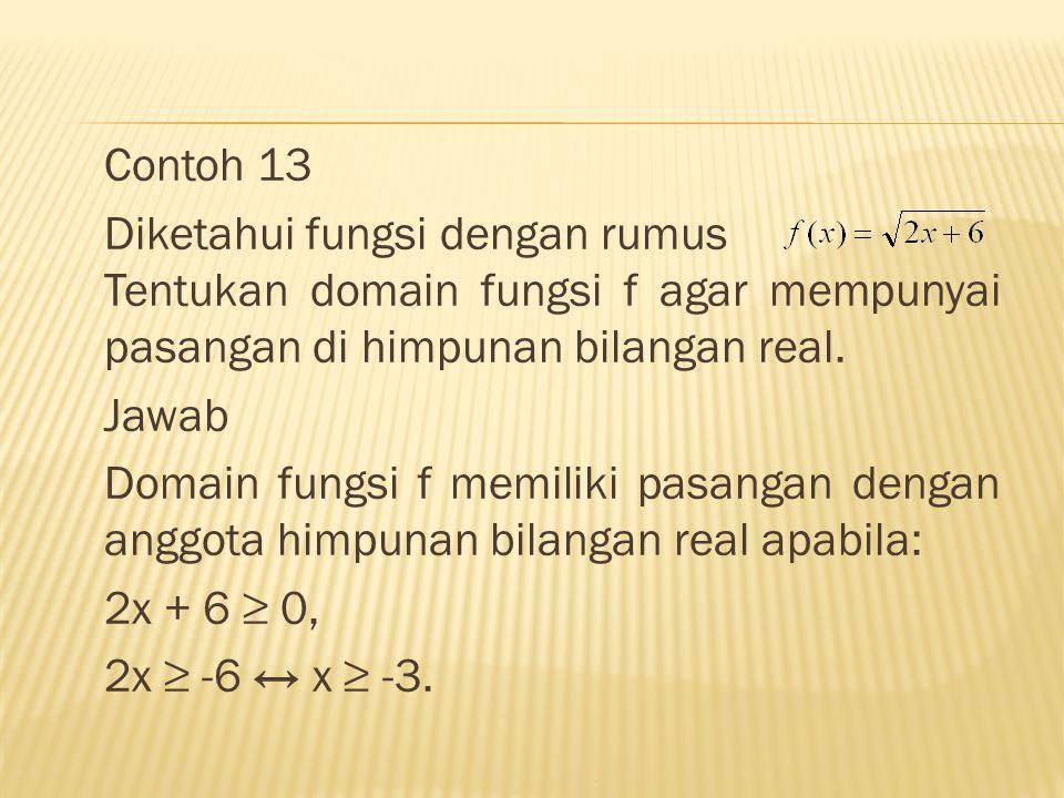 Contoh 13 Diketahui fungsi dengan rumus Tentukan domain fungsi f agar mempunyai pasangan di himpunan bilangan real.