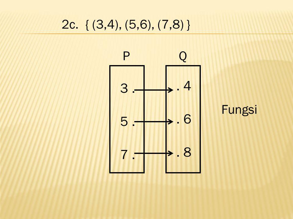 2c. { (3,4), (5,6), (7,8) }. 4. 6. 8 3. 5. 7. Fungsi PQ