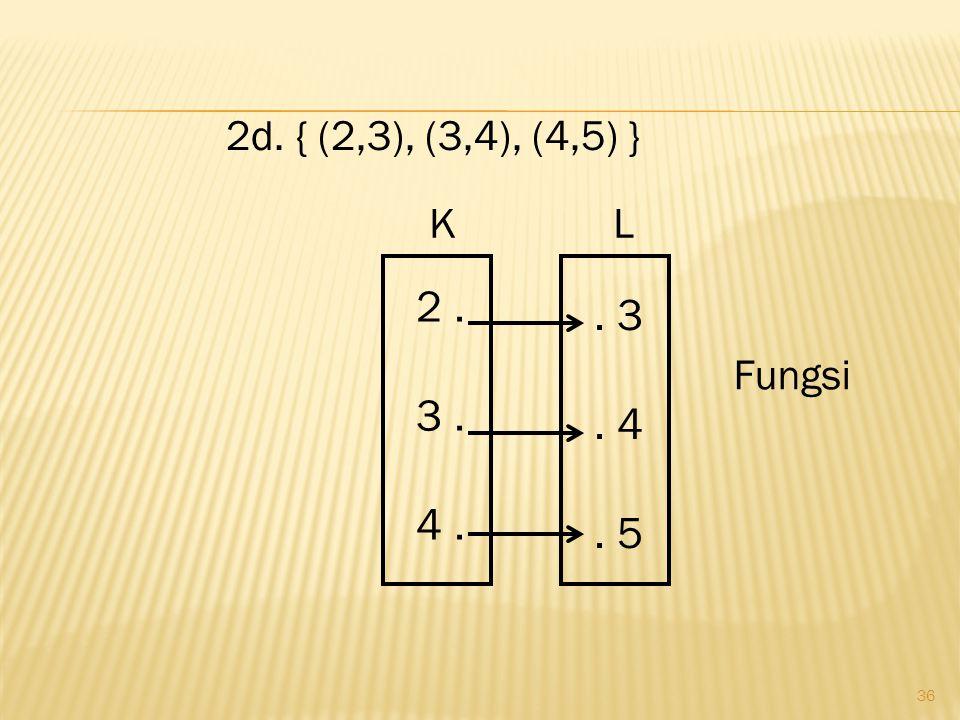 36 2d. { (2,3), (3,4), (4,5) }. 3. 4. 5 2. 3. 4. Fungsi KL