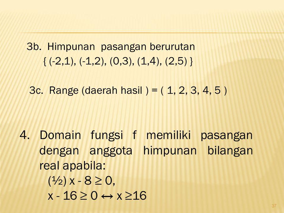 37 3b.Himpunan pasangan berurutan { (-2,1), (-1,2), (0,3), (1,4), (2,5) } 3c.