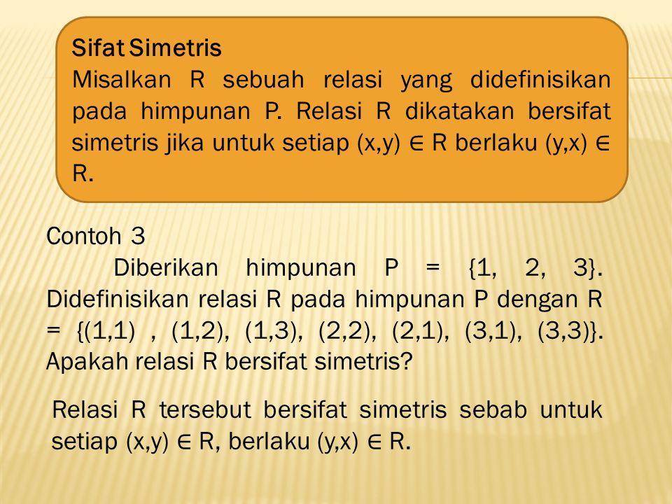 Relasi R tersebut tidak bersifat simetris karena (4,2) anggota R tetapi (2,4) bukan anggota R.