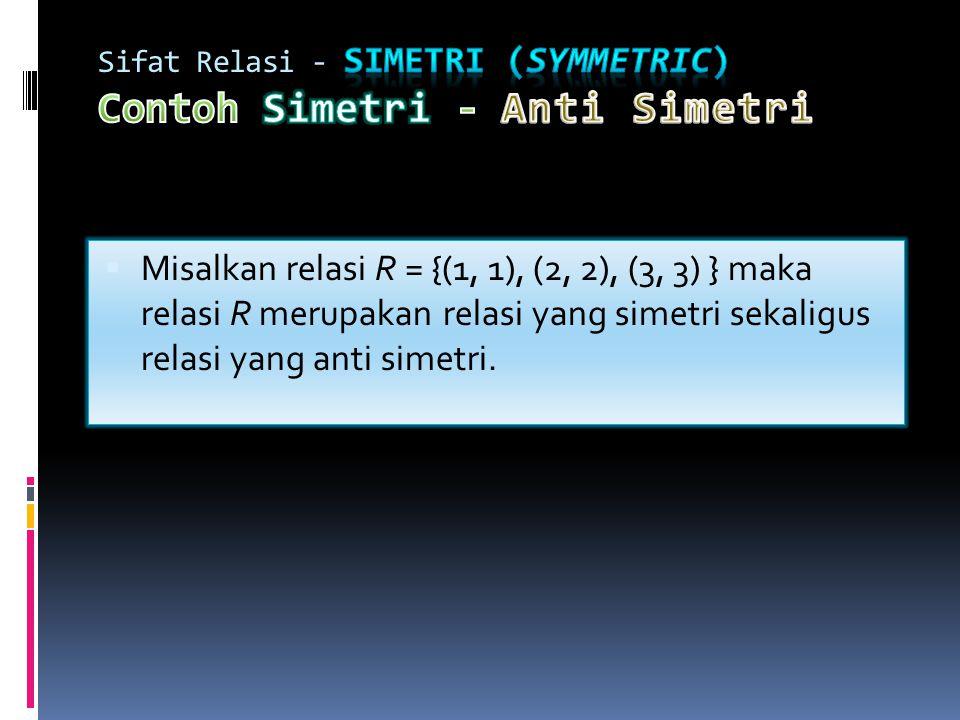  Misalkan relasi R = {(1, 1), (2, 2), (3, 3) } maka relasi R merupakan relasi yang simetri sekaligus relasi yang anti simetri.