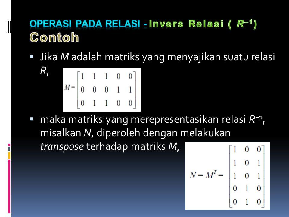  Jika M adalah matriks yang menyajikan suatu relasi R,  maka matriks yang merepresentasikan relasi R –1, misalkan N, diperoleh dengan melakukan transpose terhadap matriks M,
