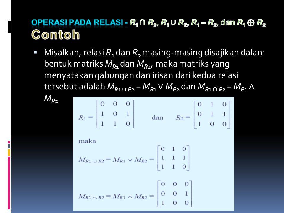  Misalkan, relasi R 1 dan R 2 masing-masing disajikan dalam bentuk matriks M R1 dan M R2, maka matriks yang menyatakan gabungan dan irisan dari kedua relasi tersebut adalah M R1 ∪ R2 = M R1 ∨ M R2 dan M R1 ∩ R2 = M R1 ∧ M R2