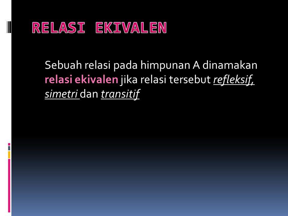 Sebuah relasi pada himpunan A dinamakan relasi ekivalen jika relasi tersebut refleksif, simetri dan transitif