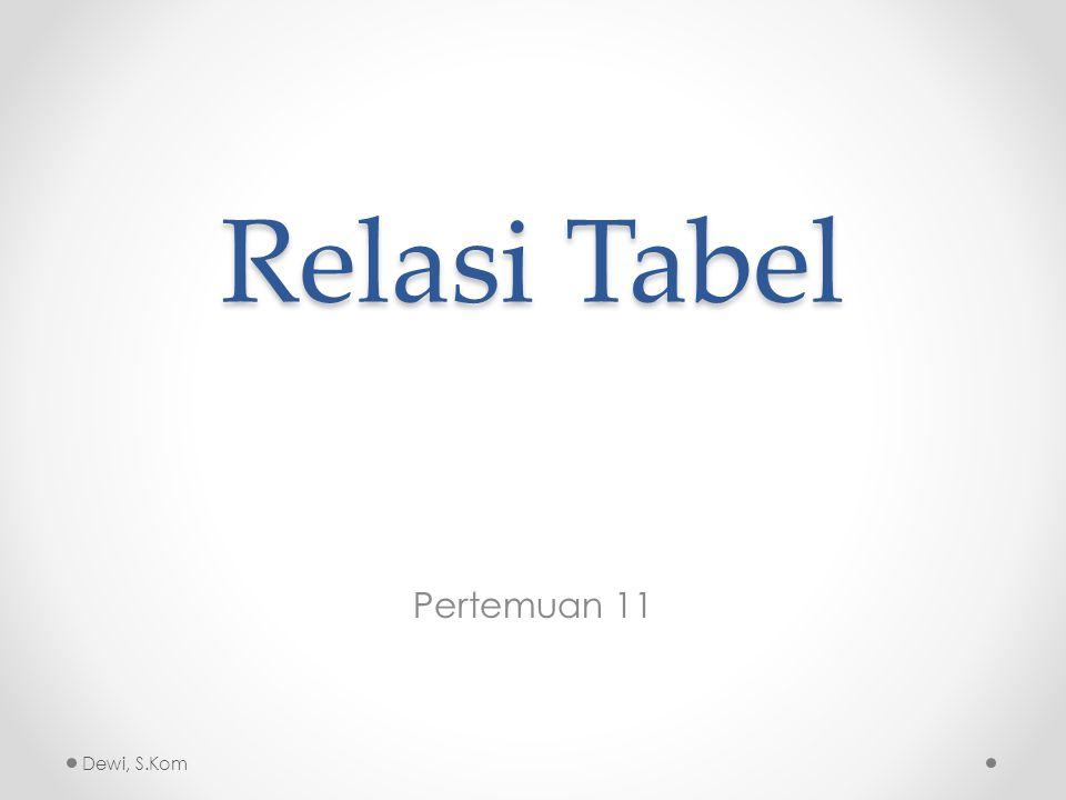 Pendahuluan Relasi Tabel adalah hubungan antara beberapa tabel.
