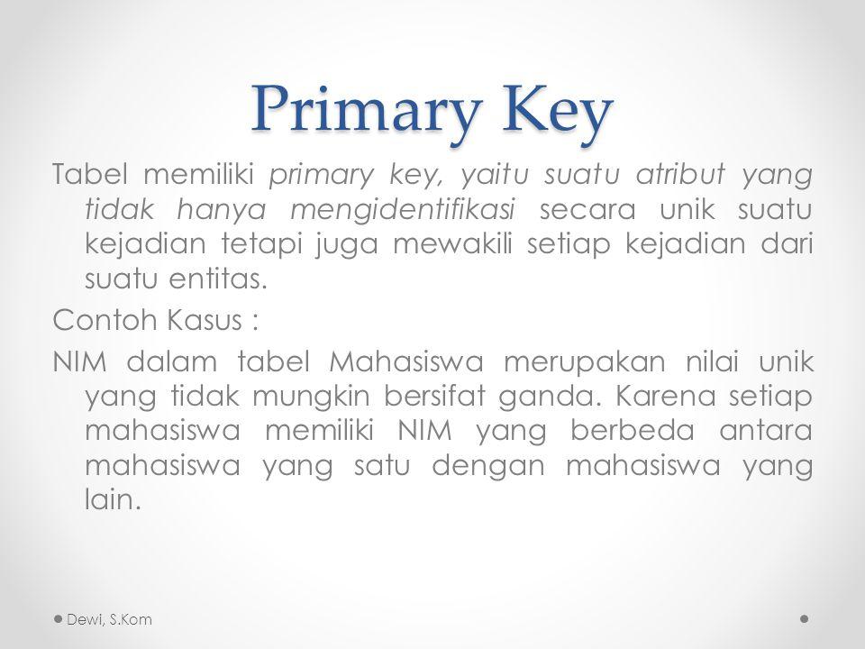 Foreign Key Foreign key adalah atribut yang melengkapi relationship dan menunjukkan hubungan antara tabel induk dengan tabel anak.