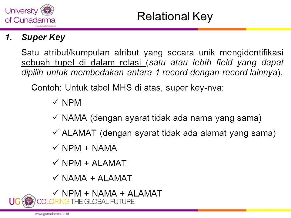 Relational Key 1.Super Key Satu atribut/kumpulan atribut yang secara unik mengidentifikasi sebuah tupel di dalam relasi (satu atau lebih field yang dapat dipilih untuk membedakan antara 1 record dengan record lainnya).