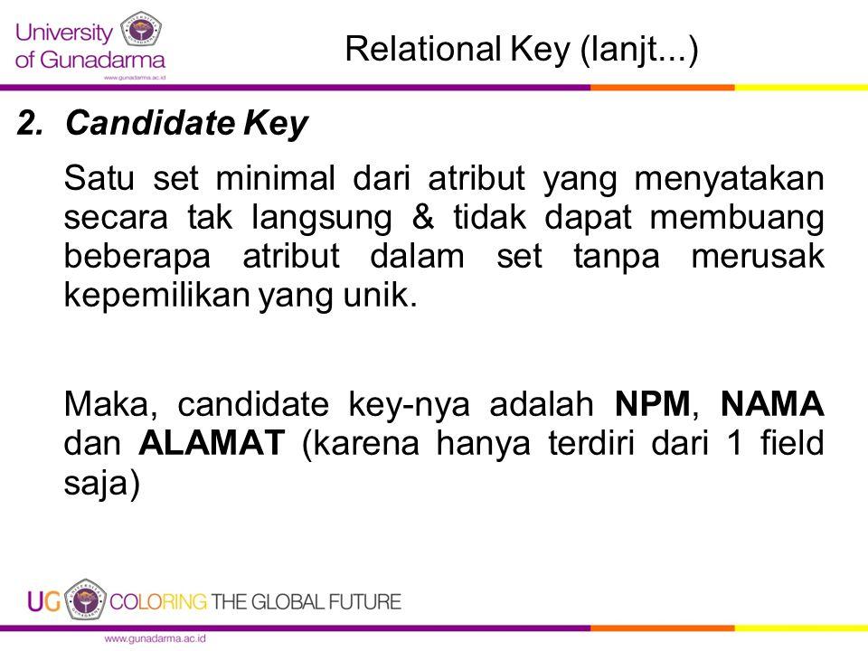 Relational Key (lanjt...) 2.Candidate Key Satu set minimal dari atribut yang menyatakan secara tak langsung & tidak dapat membuang beberapa atribut dalam set tanpa merusak kepemilikan yang unik.