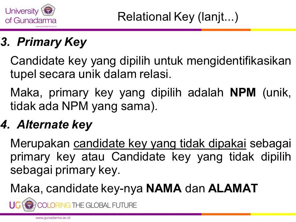 Relational Key (lanjt...) 3.Primary Key Candidate key yang dipilih untuk mengidentifikasikan tupel secara unik dalam relasi. Maka, primary key yang di