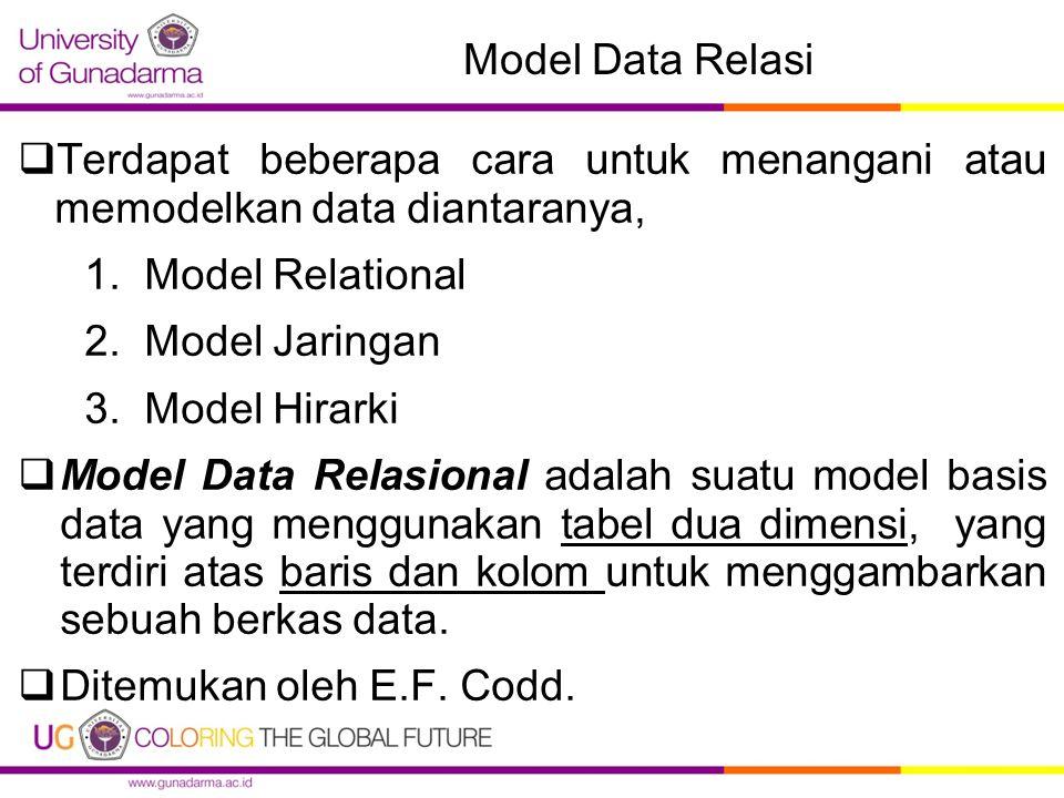 Model Data Relasi  Terdapat beberapa cara untuk menangani atau memodelkan data diantaranya, 1.Model Relational 2.Model Jaringan 3.Model Hirarki  Model Data Relasional adalah suatu model basis data yang menggunakan tabel dua dimensi, yang terdiri atas baris dan kolom untuk menggambarkan sebuah berkas data.