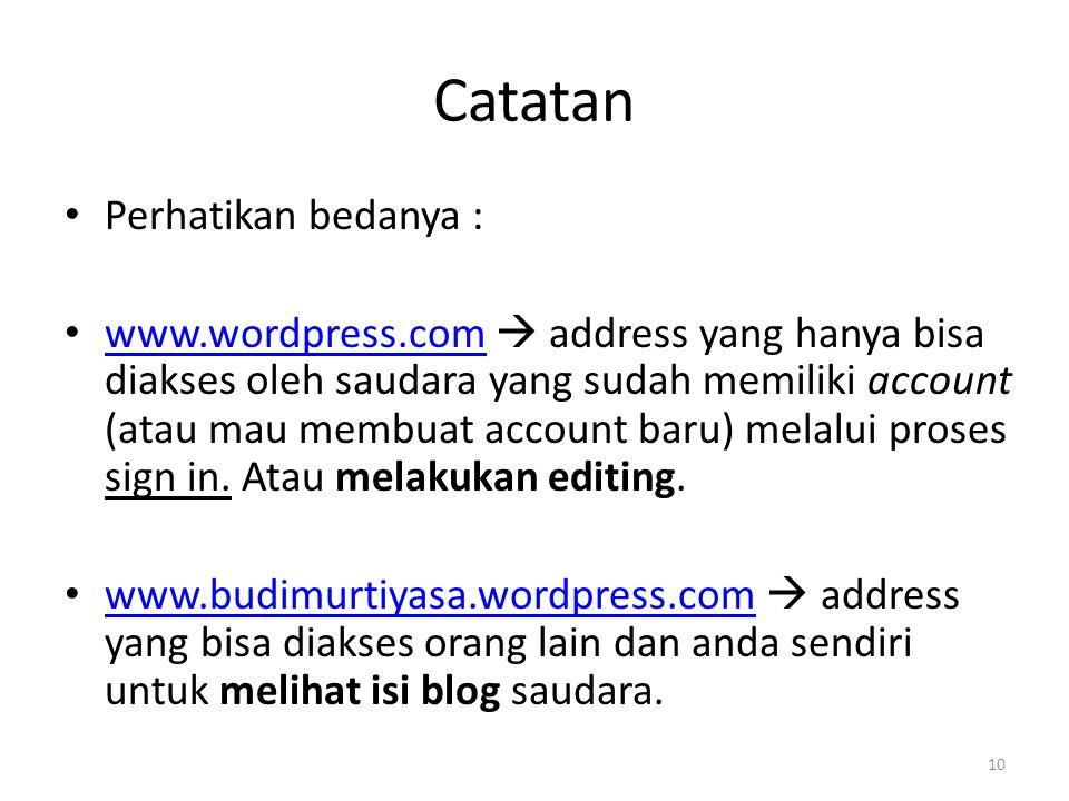 Catatan Perhatikan bedanya : www.wordpress.com  address yang hanya bisa diakses oleh saudara yang sudah memiliki account (atau mau membuat account baru) melalui proses sign in.