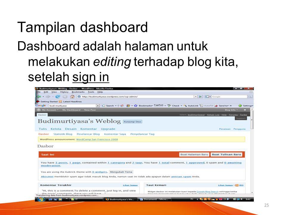 Tampilan dashboard Dashboard adalah halaman untuk melakukan editing terhadap blog kita, setelah sign in 25