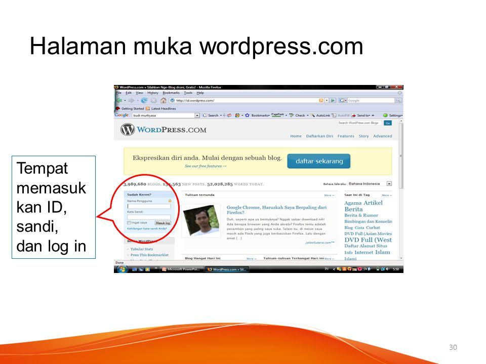 Halaman muka wordpress.com Tempat memasuk kan ID, sandi, dan log in 30