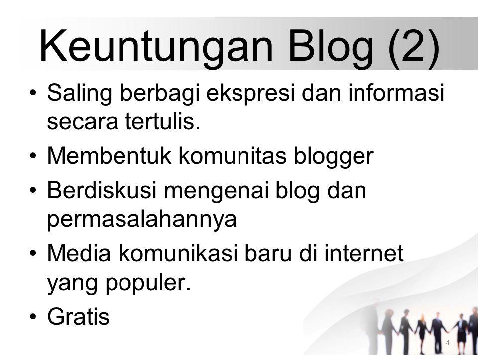 Keuntungan Blog (2) Saling berbagi ekspresi dan informasi secara tertulis. Membentuk komunitas blogger Berdiskusi mengenai blog dan permasalahannya Me