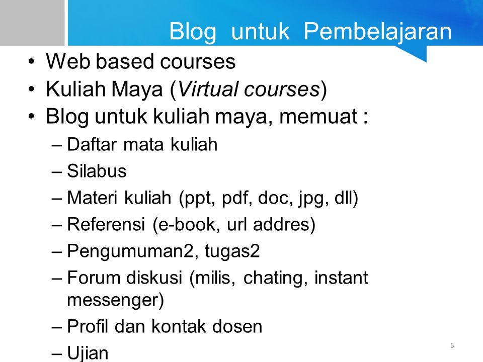 Blog untuk Pembelajaran Web based courses Kuliah Maya (Virtual courses) Blog untuk kuliah maya, memuat : –Daftar mata kuliah –Silabus –Materi kuliah (