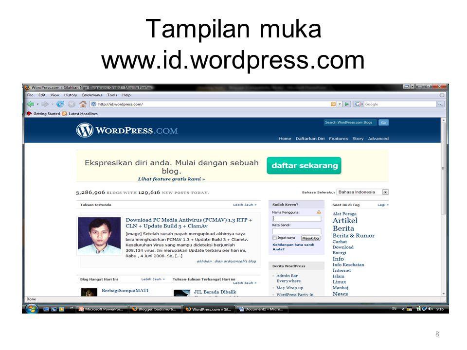 Tampilan muka www.id.wordpress.com 8