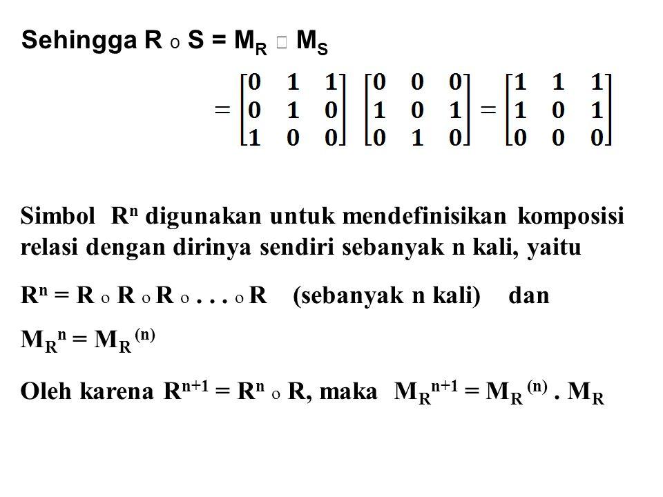 Sehingga R o S = M R ☉ M S Simbol R n digunakan untuk mendefinisikan komposisi relasi dengan dirinya sendiri sebanyak n kali, yaitu R n = R o R o R o.