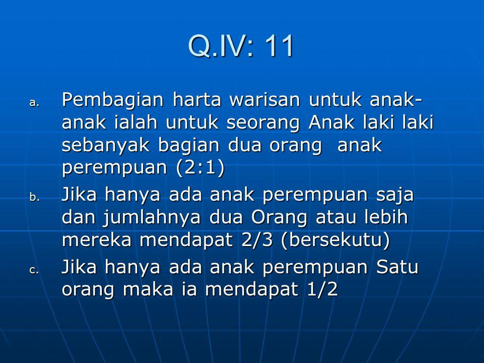 Ayat-ayat kewarisan QIV: 7 a. Bagi Laki Laki ada hak bagian dari harta peninggalan Ibu Bapaknya b. Bagi Aqrabun Laki Laki ada bagian dari harta pening