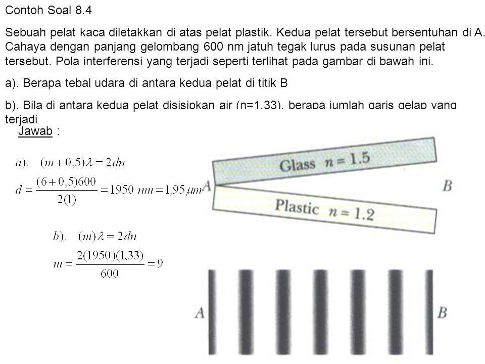 Contoh Soal 8.4 Sebuah pelat kaca diletakkan di atas pelat plastik. Kedua pelat tersebut bersentuhan di A. Cahaya dengan panjang gelombang 600 nm jatu
