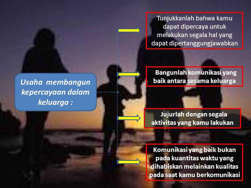 Usaha membangun kepercayaan dalam keluarga : Tunjukkanlah bahwa kamu dapat dipercaya untuk melakukan segala hal yang dapat dipertanggungjawabkan Bangu