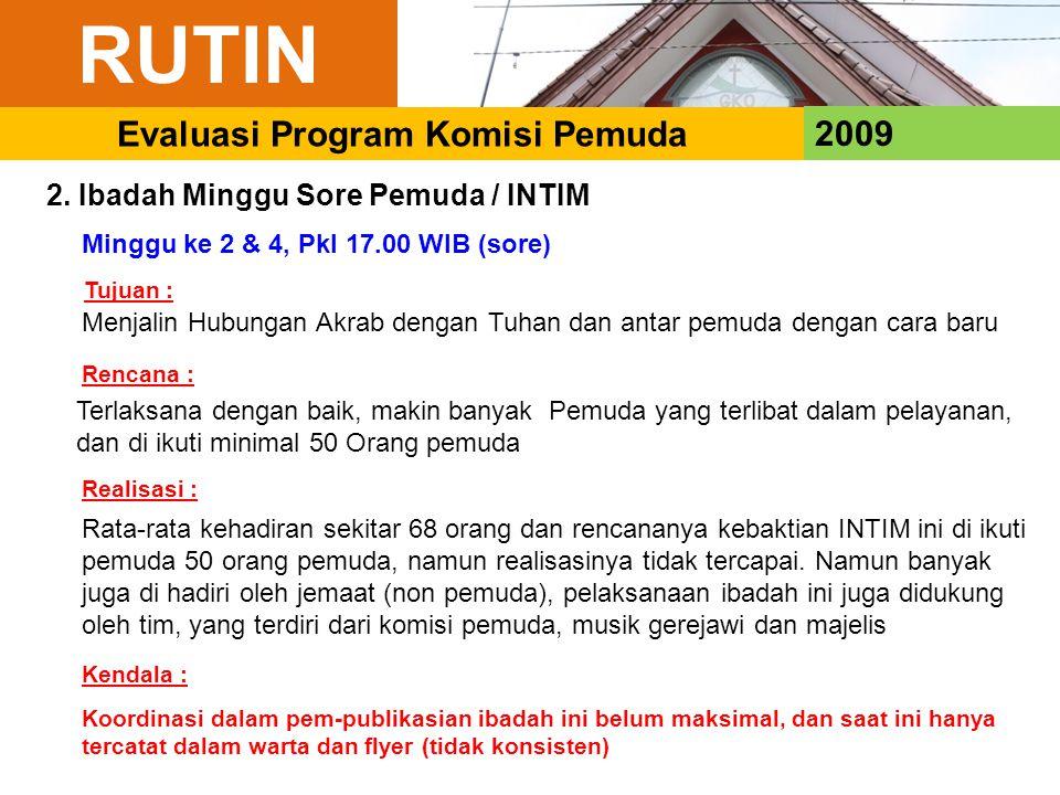 RUTIN 2009 Evaluasi Program Komisi Pemuda 2. Ibadah Minggu Sore Pemuda / INTIM Minggu ke 2 & 4, Pkl 17.00 WIB (sore) Menjalin Hubungan Akrab dengan Tu