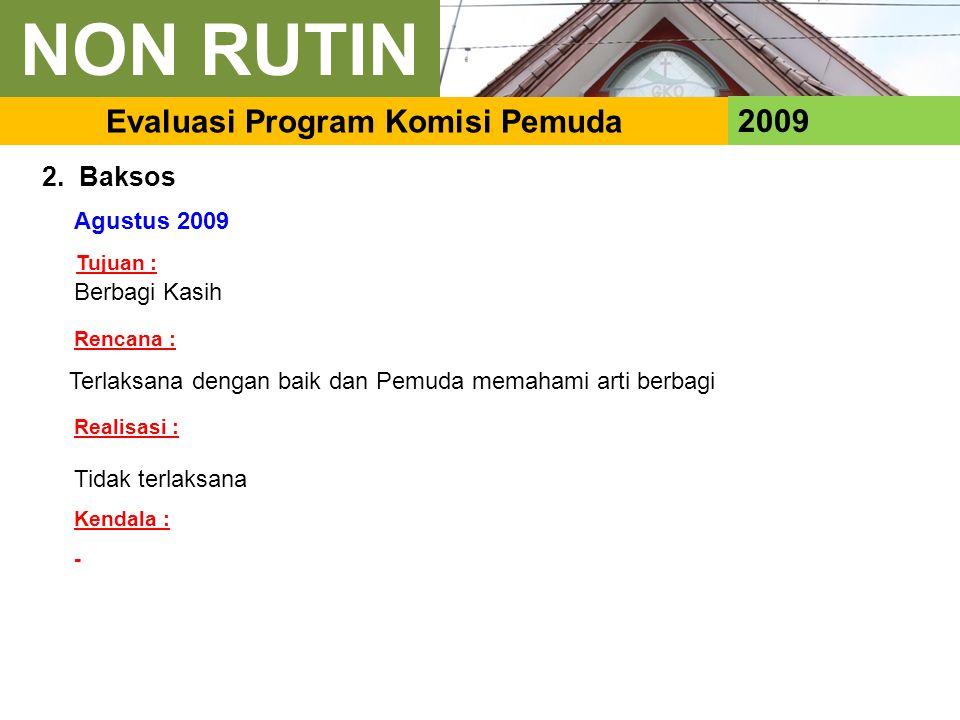 2009 Evaluasi Program Komisi Pemuda 2. Baksos Agustus 2009 Berbagi Kasih Tidak terlaksana Terlaksana dengan baik dan Pemuda memahami arti berbagi Renc