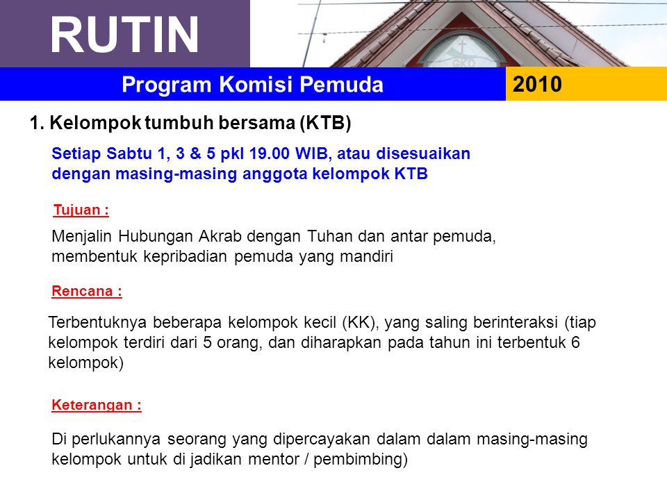 RUTIN 2010 Program Komisi Pemuda 1. Kelompok tumbuh bersama (KTB) Setiap Sabtu 1, 3 & 5 pkl 19.00 WIB, atau disesuaikan dengan masing-masing anggota k