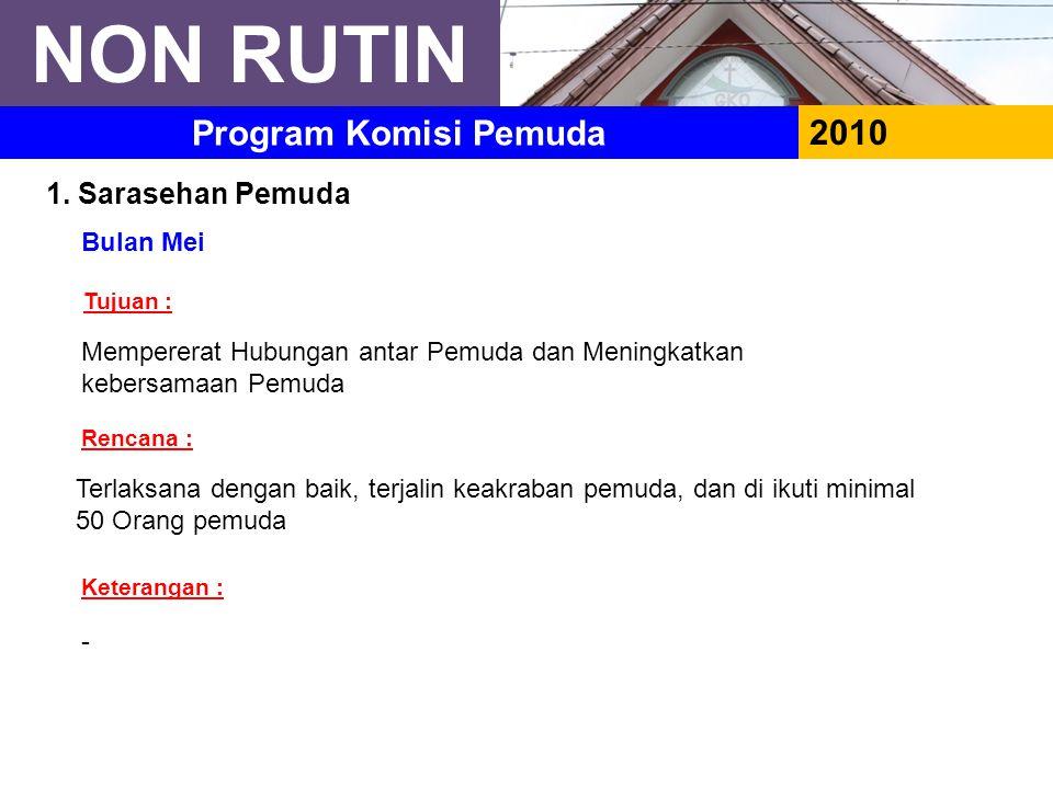 NON RUTIN 2010 Program Komisi Pemuda 1.