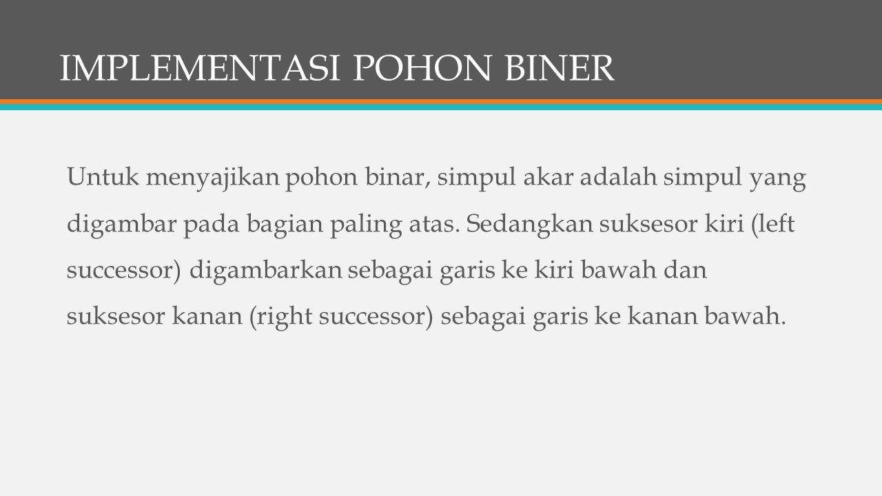 IMPLEMENTASI POHON BINER Untuk menyajikan pohon binar, simpul akar adalah simpul yang digambar pada bagian paling atas.
