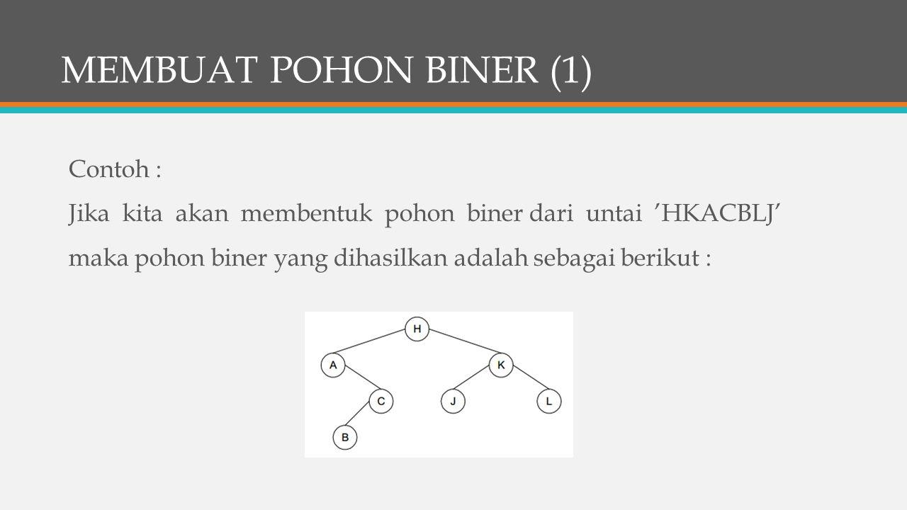 MEMBUAT POHON BINER (1) Contoh : Jika kita akan membentuk pohon biner dari untai 'HKACBLJ' maka pohon biner yang dihasilkan adalah sebagai berikut :
