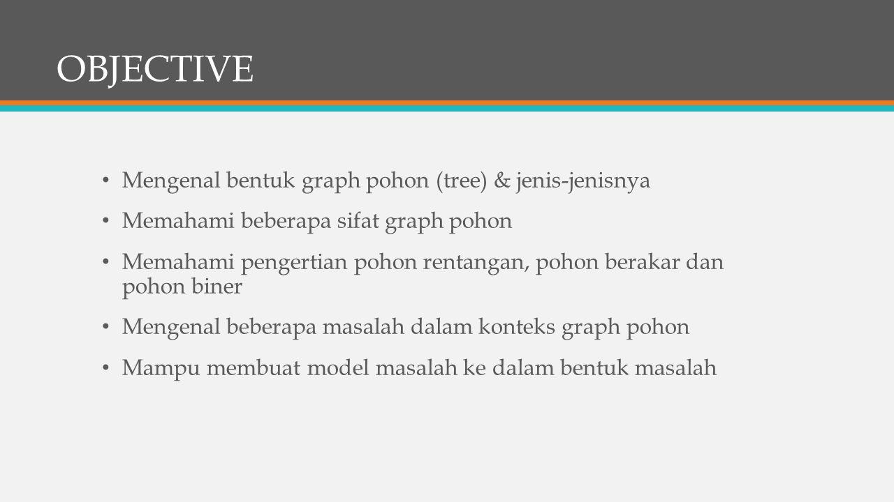 OBJECTIVE Mengenal bentuk graph pohon (tree) & jenis-jenisnya Memahami beberapa sifat graph pohon Memahami pengertian pohon rentangan, pohon berakar dan pohon biner Mengenal beberapa masalah dalam konteks graph pohon Mampu membuat model masalah ke dalam bentuk masalah